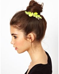 ASOS - Yellow Stone Hair Brooch - Lyst