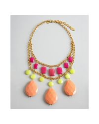 David Aubrey | Pink Green and Peach Multi Stone Drop Necklace | Lyst