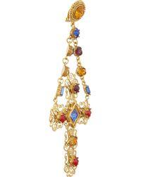 Dolce & Gabbana - Metallic Gemme Gold Plated Swarovski Crystal Cross Clip Earrings - Lyst