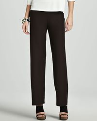 Eileen Fisher - Black Washable-Crepe Straight-Leg Pants - Lyst