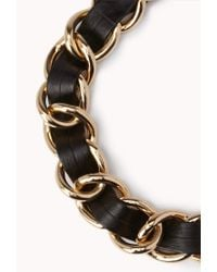 Forever 21 | Black Edgy Curb Chain Necklace | Lyst