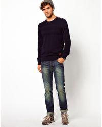 ASOS - Blue Minimum Sweater with Button Shoulder for Men - Lyst