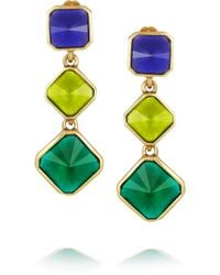 Oscar de la Renta - Green Gold Plated Resin Clip Earrings - Lyst