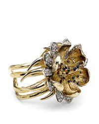 Roberto Cavalli - Metallic Flower Cuff with Swarovski Crystals - Lyst