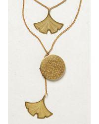 Anthropologie | Metallic Layered Ginkgo Locket Necklace | Lyst