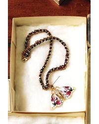 Anthropologie - Pink Fluttered Fleur Pendant Necklace - Lyst