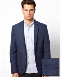 ASOS | Skinny Suit Jacket In Blue Dogstooth for Men | Lyst