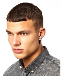 ASOS - Metallic Earrings with Turquoise Spike for Men - Lyst