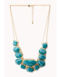 Forever 21 - Blue Faceted Faux Stone Bib Necklace - Lyst