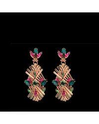 Anton Heunis | Metallic Art Deco Crystal Drop Earrings | Lyst