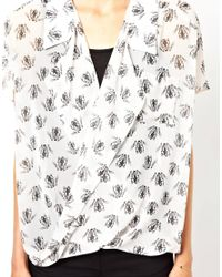 ASOS - White Blouse with Wrap Front in Skeleton Frog Print - Lyst