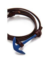 Miansai - Brown Enamel Anchor Leather Wrap Bracelet for Men - Lyst