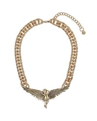 TOPSHOP | Metallic Gold Cherub Necklace | Lyst