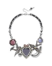 Betsey Johnson - Metallic Antique Silver Tone Crystal Heart and Bird Frontal Necklace - Lyst