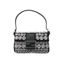 Fendi - Black Mini Baguette with Flower Embroidery - Lyst