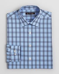 Michael Kors | French Blue Plaid Dress Shirt Regular Fit for Men | Lyst