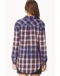 Forever 21   Blue Tartan Check Shirt   Lyst