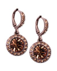 Givenchy | Purple Brown Goldtone Light Smoky Topaz Glass Stone Drop Earrings | Lyst