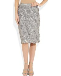 J.Crew - Gray Sequined Lace Skirt - Lyst
