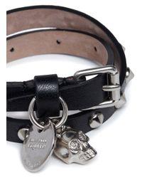 Alexander McQueen | Black Skull Studded Double-wrap Leather Bracelet | Lyst