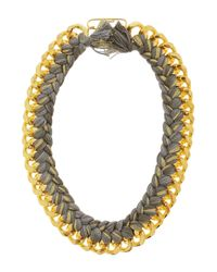 Aurelie Bidermann | Gray 18k Dip Necklace with Cotton Braid | Lyst