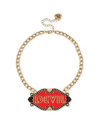 Betsey Johnson | Metallic Antique Goldtone Angel and Devil Plate Frontal Necklace | Lyst