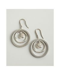 David Yurman | Metallic Diamond and Sterling Silver Cable Mobile Dangling Earrings | Lyst