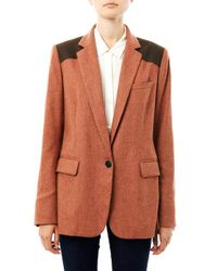 Veronica Beard | Red Removable Dickie Herringbone Blazer | Lyst
