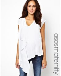 ASOS - White Blouse With V Neck And Drape Wrap - Lyst