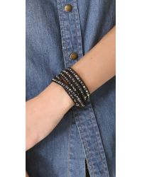 Chan Luu - Black Skull Beaded Wrap Bracelet - Lyst