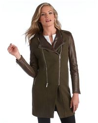 BCBGMAXAZRIA - Green Double Zip Leather Sleeve Coat - Lyst