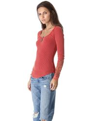 Free People - Red Synergy Cuff Top - Lyst