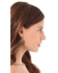 Miguel Ases - Orange Beaded Quatrefoil Earrings - Lyst