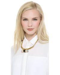 Rachel Zoe - Metallic Crystal Barrel Statement Necklace - Lyst