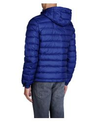 Armani Jeans - Blue Hooded Down Jacket In Technical Fabric for Men - Lyst