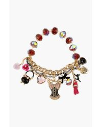 Betsey Johnson | Metallic Mixed Multi Charm Pearl Half Stretch Bracelet | Lyst