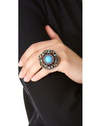 Erickson Beamon - Metallic 'stratosphere' Faux Pearl Crystal Floral Cluster Ring - Lyst