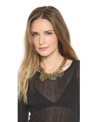 Fallon - Metallic Filigree Bib Necklace - Lyst