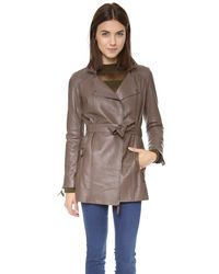 Graham & Spencer - Brown Leather Trench Coat - Lyst