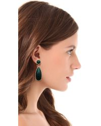 One By - Green Crown Stone Drop Earrings - Lyst