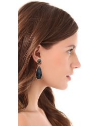 One By | Black Crown Stone Drop Earrings | Lyst