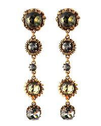 Oscar de la Renta | Multicolor Crystal Teardrop Clip-on Drop Earrings | Lyst