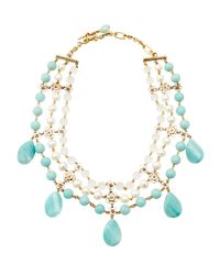 Stephen Dweck | Blue Amazonite Rock Crystal and Pearl Bib Necklace | Lyst