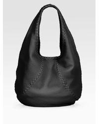 Bottega Veneta | Black Cervo Large Hobo Bag | Lyst