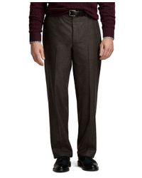 Brooks Brothers | Brown Madison Fit Saxxon Wool Flannel Plain-front Dress Trousers for Men | Lyst