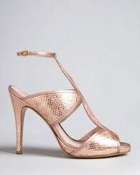 Delman - Metallic Peep Toe Platform Evening Sandals Suave High Heel - Lyst