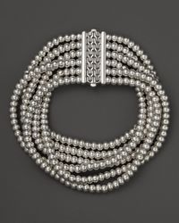 John Hardy | Metallic Bedeg Six Row Silver Beaded Bracelet | Lyst