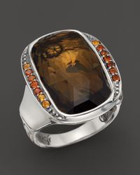 John Hardy | Metallic Batu Bamboo Silver Large Octagon Ring With Honey Quartz & Dark Citrine | Lyst