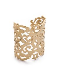Juicy Couture - Metallic Gold Openwork Wide Cuff - Lyst