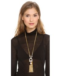Rachel Zoe - Metallic Tassel Pendant Necklace - Lyst